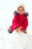 Children making big snowman Royalty Free Stock Image