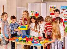 Children making card Royalty Free Stock Images