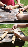 Children Making Dough Royalty Free Stock Photography