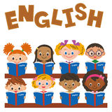 Children making an English study. Children who I line up in the desk, and study Royalty Free Stock Photography