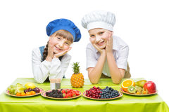 Children making fruit snacks Stock Photography