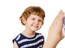 Children making photos in studio. Stock Image
