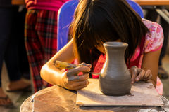 Children are making pottery before go to oven Royalty Free Stock Photography