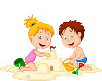 Children making sand castle at tropical beach Stock Photography