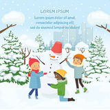 Children making the snowman on the background of snowy city Stock Photography