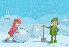Children making snowman in the morning Stock Photos