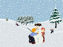 Children making a snowman. Winter illustration. Graphic representation of a winter scene with children building a snowman, children sliding and running in the stock illustration