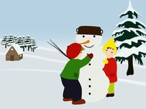 Children making a snowman. Winter illustration. Stock Photos