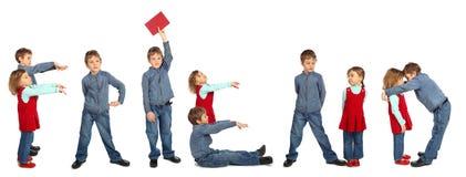 Children making word FRIEND collage Stock Photo