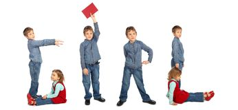Children making word GIRL collage Royalty Free Stock Photography