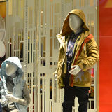 Children mannequins in clothing shop window,clothing store,clothes store Royalty Free Stock Image