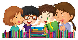 Children with many books Stock Photo