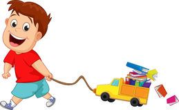 Children with many books and toy cars. Vector illustration of children with many books and toy cars  on white Royalty Free Stock Images
