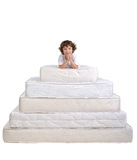 Children and many mattresses Royalty Free Stock Photos
