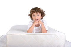 Children and many mattresses Royalty Free Stock Image