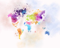 Children map painting Royalty Free Stock Images