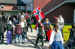 Children during the march in colorful Norwegian costumes royalty free stock image