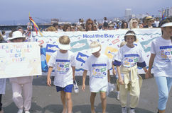 Children marching at environmental rally, Los Angeles, California Royalty Free Stock Image
