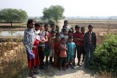 Children after Mass stand in front of the church in Baidyapur, India Stock Image