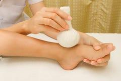Children massage  foot Royalty Free Stock Photo
