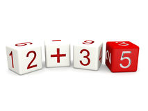 Children mathematics class. Concept 3d numbers dice isolated Stock Photography