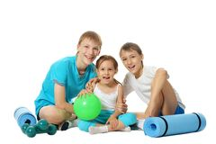 Children with mats Royalty Free Stock Photos