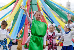 Children with May pole Royalty Free Stock Image