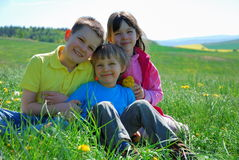 Children in Meadow Stock Photos