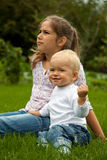 Children. In the meadow - family Stock Photography