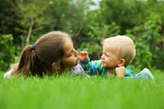 Children. In the meadow - family Stock Image