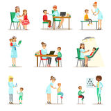 Children On Medical Check-Up With Female Pediatrician Doctors Doing Physical Examination stock image