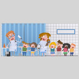 Children at medical clinic for blood´s analysis Stock Photos