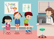 Children in medical clinic royalty free illustration