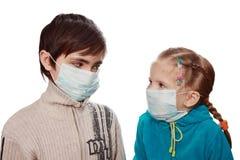 Children in medical masks Stock Image