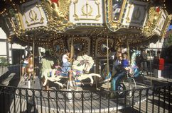 Children on Merry-Go-Round, Navy Pier, Chicago, Illinois Royalty Free Stock Image