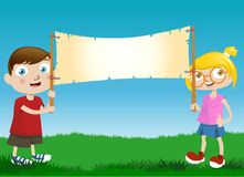 Children with message board Royalty Free Stock Photos