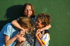 Children messing about. Lifestyle image of three children Royalty Free Stock Photography