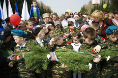 Children in military uniform on Victory Day Royalty Free Stock Photography