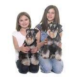 Children and miniature schnauzer royalty free stock photos