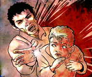 Children mistreatment. Illustration of a child being afraid, and  whom the father strikes him  on the shoulder. The situation is threatening and the child feels Royalty Free Stock Photos