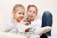 Children with mobile phone Stock Photos