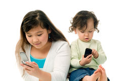 Children with mobile phones. Stock Images