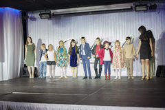 Children models walk the runway on Christmas show Royalty Free Stock Photography
