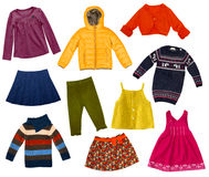 Children modern clothes collage.Isolated. Stock Photos