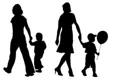 Сhildren and moms to walk Stock Image