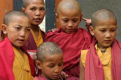 CHILDREN IN MONASTERY OF LADAKH Royalty Free Stock Photo