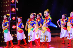 Children in the Mongolian dance performance Royalty Free Stock Images