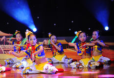 Children in the Mongolian dance performance Stock Images