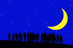 Children in moonlight. Silhouettes of young children in moonlight with stars (with vector eps format vector illustration