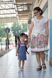 Children and mother go to school first day use for education ,ki Royalty Free Stock Image
